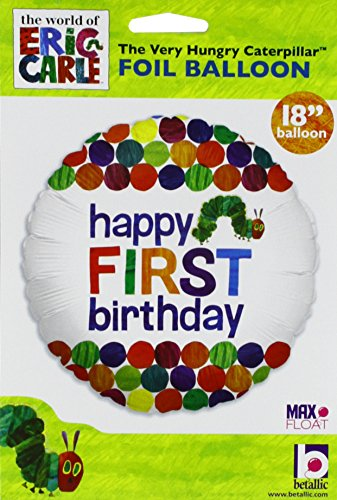 Happy 1st Birthday Balloon The Very Hungry Caterpillar by Eric Carle 18 Round Foil for Helium Inflation Party Decoration in Green Blue Orange Red Yellow Polka Dots and Multi Color Bug Words on White for $<!--$3.79-->