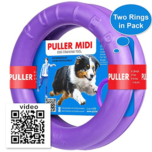 Dog Toy - Interactive Large Medium Dog Training - Fetch Toy - Dental Healthy - Dog Toys Set 2 Rings by Puller Midi Plus - Size 8 inches ()