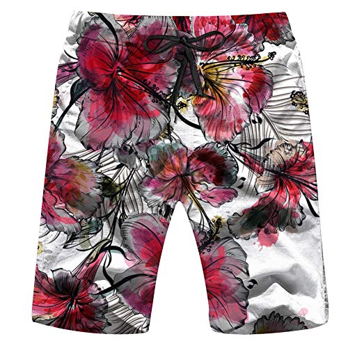 Beautiful Tropical Nature Mens Board Shorts Beach Lightweight Home Casual Shorts Swim-Trunks with Quick Dry XL