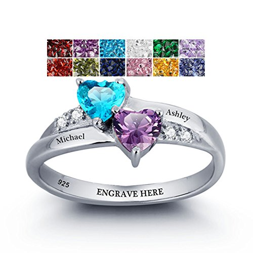 Personalized Name Rings 2 Simulate Birthstones Rings Silver Women Couple Promise Engagement Rings Band (7)