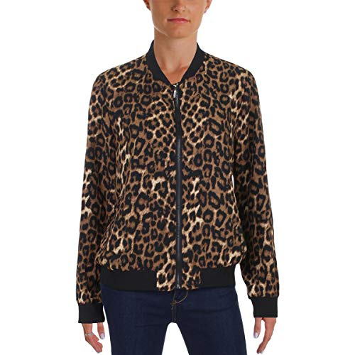 Cupio Blush Womens Fall Animal Print Bomber Jacket Black M