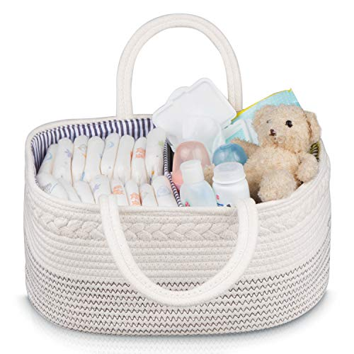 Baby Basket – Jeneric Design's Woven Rope Portable Light Weight White Nursery Caddy Basket with Handles for Storage and Organization of Diapers, Toys, Baby Laundry Clothes, Towels, Blankets