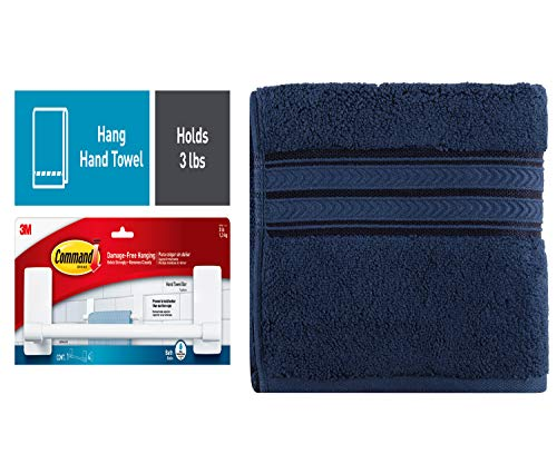 Command Bath Plastic 1-Piece Hand Towel Bar, 4 Large Water-Resistant Strips Bundle with Better Homes & Gardens Thick & Plush Hand Towel, Admiral Blue