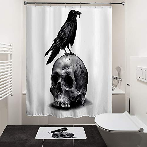 HIYOO Bathroom Polyester Fabric Waterproof Shower Curtain, Horror Scary Halloween Decor Decorations Theme Design, High-Definition Image, Hooks Included 72