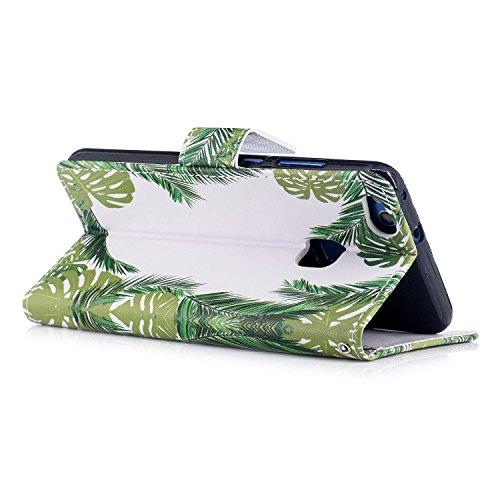 Funda Huawei P10 lite,SainCat Funda de cuero sintético tipo billetera con correa de cordón de Suave PU Carcasa Con Tapa y Cartera,Ranuras para Tarjetas y Billetera Funda de Flip Ranuras Tarjeta Slots  Hojas verdes