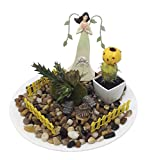 Fairy Garden Miniature Plant Bonsai Decor Set – Mini Angels, Dollhouses, Fairies, Unicorns Figurines (Green Angel and Mini Dollhouse)