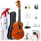 AKLOT Concert Ukulele Solid Mahogany Ukelele 23 inch Beginners Starter Kit with Free Online Courses&Ukulele Accessories AKC23