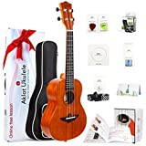 Ukulele Solid Mahogany 23 Inch Concert Uke With Free Online Course 8 Packs Beginner Starter Kit ( Gig Bag Picks Tuner Strap String Cleaning Cloth Instruction Book )