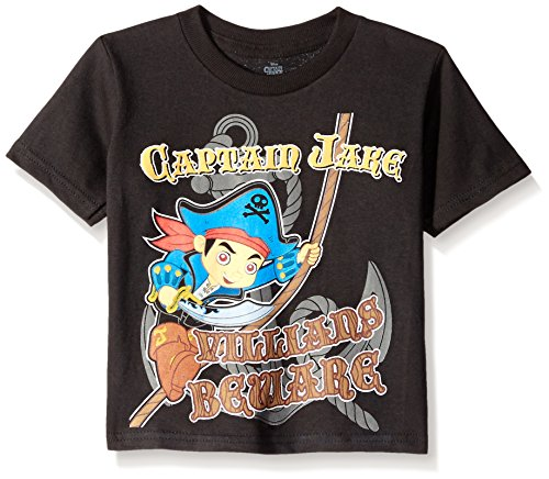 Disney Little Boys' Toddler Jake and The Neverland Pirates In The Making Short Sleeve T-Shirt, Black, 2T ()