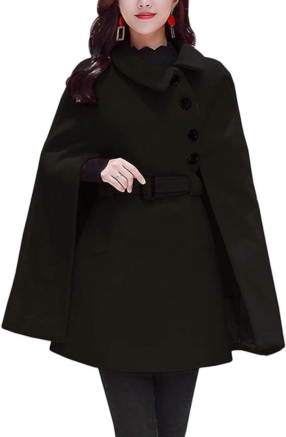 Jaycargogo Womens Double-Breasted Slim Solid Wool-Blend Pea Coats