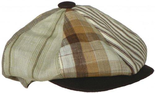 Broner Patchwork Linen 8 Panel Newsboy Cap (Brown, Medium)