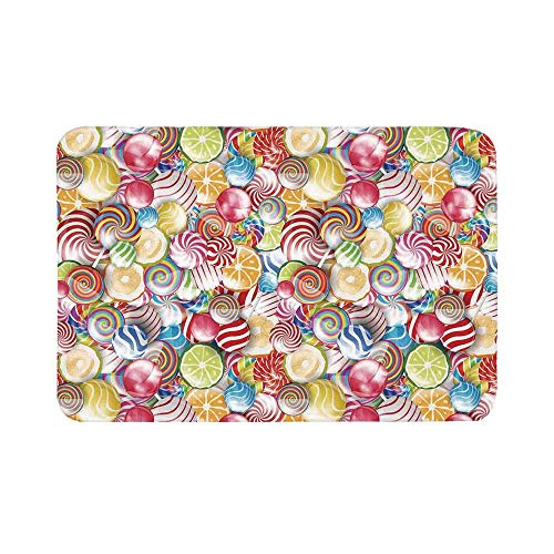 C COABALLA Colorful Home Decor Durable Door Mat,Spiral Sugar Candy Sweets Lolly Pops Dessert Fun Girls Kids Nursery Theme for Living Room,15.7