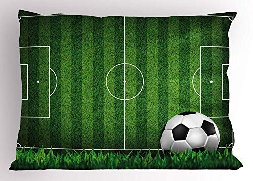 MTDKX Boy's Room Pillow Sham, Green Grass Field Soccer Playground with The Ball Scheme Stripes Strategy, Decorative Standard Queen Size Printed Pillowcase, 30 X 20 inches, Green Black White