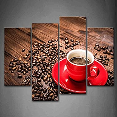 First Wall Art - Brown Coffee In The Red Cup Wall Art Painting The Picture Print On Canvas Food Pictures For Home Decor Decoration Gift