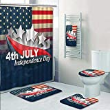 5 Piece Bath Rug Set,July Decor American Soldiers Standing with US Flag War Save Country Hero Liberty Print Bathroom Rugs Shower Curtain/Rings and Both Towels