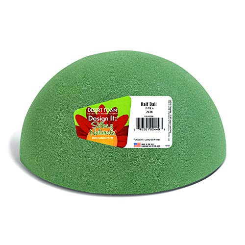 FloraCraft Floral Dry Foam Half Ball 7.8 Inch Green ()