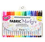 Tulip Permanent Nontoxic Fabric Markers 20 Pack - Fine Bullet Tip, Child Safe, Minimal Bleed & Fast Drying - Premium Quality for T-shirts, Clothes, Shoes, Bags & Other Fabric Materials