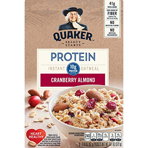 Quaker Instant Oatmeal Select Starts Protein, Cranberry Almond, Breakfast Cereal, 13.1 Ounce