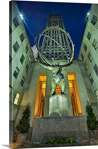 Claudia Uripos Premium Thick-Wrap Canvas Wall Art Print entitled New York, NYC, Manhattan, Atlas Statue at Rockefeller Center 5th - 5th 30 Nyc Ave