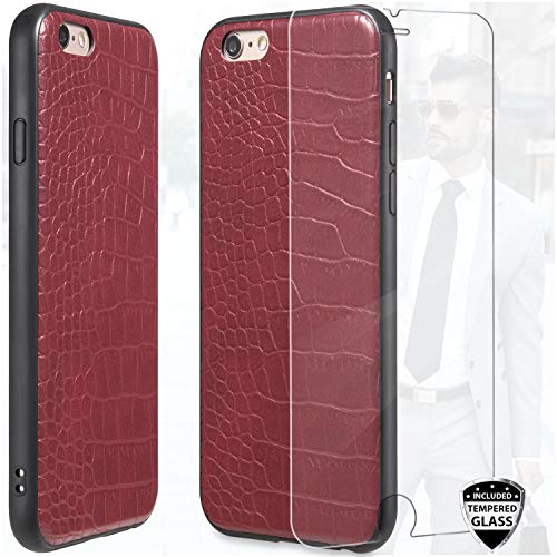 DICHEER Compatible iPhone 6 Case,iPhone 6s Case with Glass Screen Protector,Crocodile Pattern Red Leather for Women Girls,Ultra Slim Protective Cover Classy Case for iPhone 6/iPhone 6s (Iphone Crocodile Cases Leather 6)