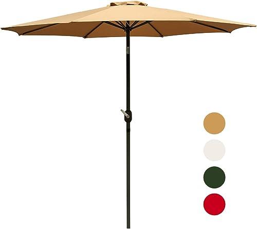 Outdoor Basic 9 Ft Patio Umbrella Aluminum Market Table Umbrella with Button Tilt and Crank Lift Brown