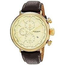 Akribos XXIV Men's AK629YG Explorer World Time Alarm Gold-Tone Stainless Steel Cream Dial Brown Leather Strap Watch