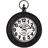 """Adeco """"Old Town Clocks"""" Black Iron Old World-Inspired Pocket Watch Style Wall Hanging Clock"""