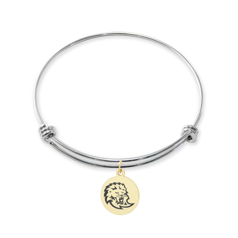College Jewelry Southeastern Louisiana Lions Stainless Steel Adjustable Bangle Bracelet with Yellow Gold Plated Round Charm