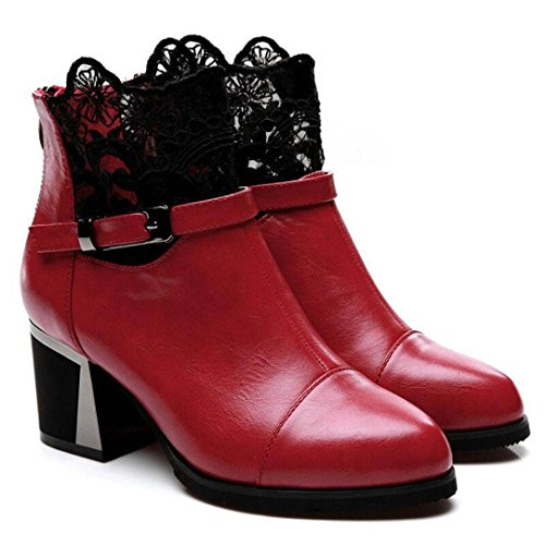 Heel Lace Fashion Boots Party High Ladies Transer® Short Shoes Women Red Boots Winter UyqaAEFwOF