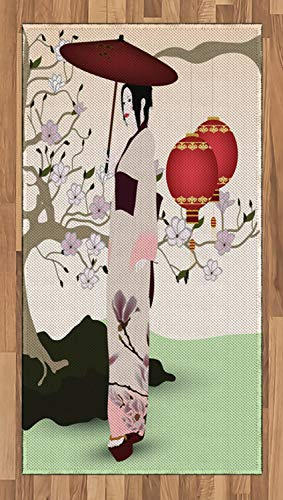 Ambesonne Umbrella Girl Area Rug, Asian Inspired Geisha Scene with Traditional Oriental Garden, Flat Woven Accent Rug for Living Room Bedroom Dining Room, 2.6 x 5 FT, Pale Green and Multicolor