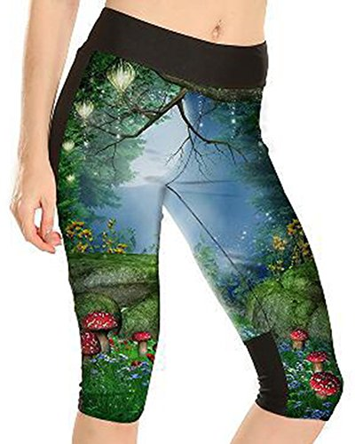 Sister Amy Women's 3D Pattern Print Workout Running Capri Pants Crop Leggings Lotus Night US XS