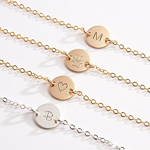 Personalized Small Round Disc Necklace-3/8 in-Custom Engraved Initial Heart Wing Baby Gold Filled, Rose Gold Filled & Sterling Silver-CG253N