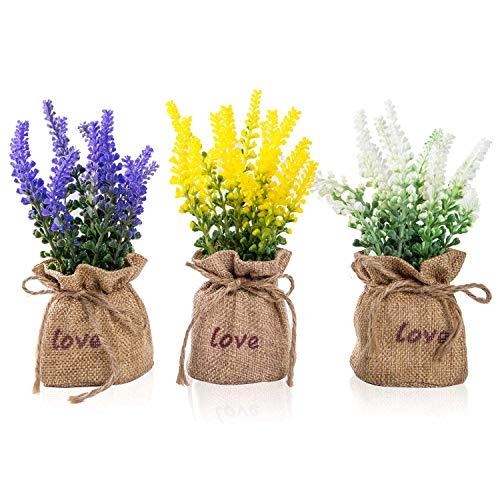 TFORESTER Mini Artificial Plants Plastic Lavender for Farmhouse Living Room Office Desk Shelf Home Decor- Set of 3