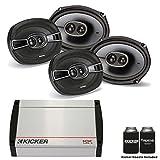 Kicker 40KX4004 400 Watt 4-channel amplifier and two pairs of 41KSC6934 6x9 coaxial speakers