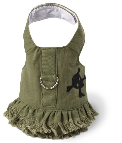 Doggles Dog Harness Jean Dress Fringe with Skull, Green, - Doggles Dress Harness