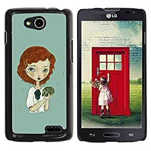 Paccase / SLIM PC / Aliminium Casa Carcasa Funda Case Cover para - Ginger Girl Green Hedgehog Art - LG OPTIMUS L90 / D415