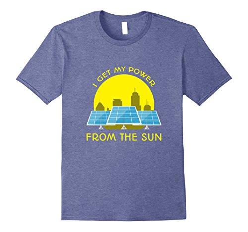 Mens I Get My Power from the Sun: Alternative Solar Energy Tshirt XL Heather Blue