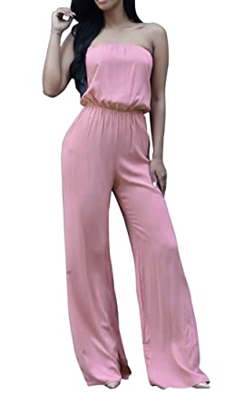 5f9251da1ed Image Unavailable. Image not available for. Color  Women Elegant Strapless  Cut Out Casual Clubwear Wide Leg Pants Tube Jumpsuit Rompers