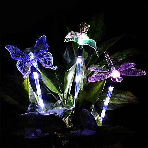 Solar Garden Lights, KUMEDA Outdoor Solar Light Multi-color Changing Decorative Lights with a White LEDs Stake Light for Garden Patio Festival 3-Pack (Butterfly,Hummingbird,Dragonfly) Solar Hummingbird Lights