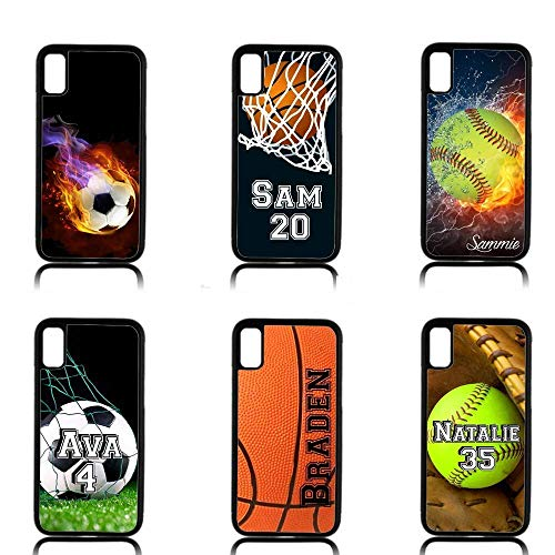 (Personalized Sports case for iPhone XR XS MAX X 8 7 6 5 Softball Soccer Basketball )