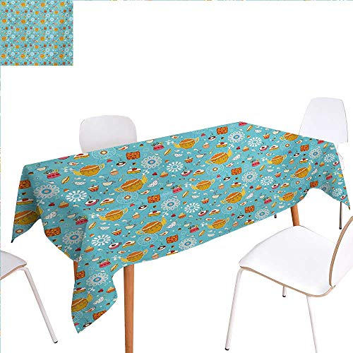 familytaste Tea Party Patterned Tablecloth Drawing Style Lovely Elements Floral Motifs and Cute Birds Muffins Latte Dust-Proof Oblong Tablecloth 54