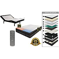 Adjustable Wireless Remote One Piece Bed Frame Base Zero Gravity and Dual Massage Electric Bed Frame with Luxury Support Dual Adjustable Digital Sleep Air Bed System Airbed Mattress Medallion Queen