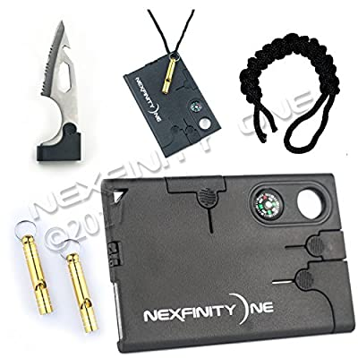 Multifunctional Pocket Survival Card Tool w Whistle! Lightweight,Compact,Credit Card Size - Ideal for Camping,Hiking,Outdoors,Survival,Protection,Rescue or Unexpected life situations by Nexfinity One