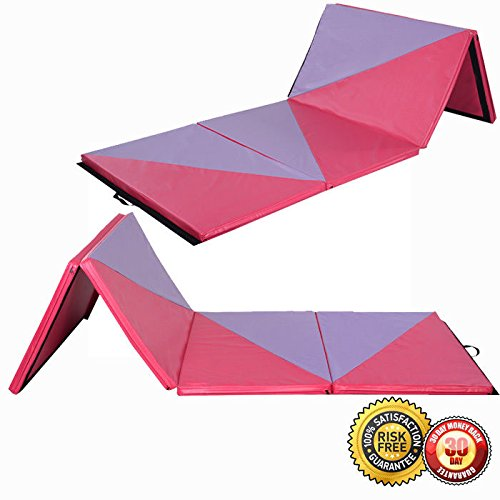 New 4'x10'x2″ Gymnastics Mat Thick Folding Panel Gym Home Exercise Pink/Purple
