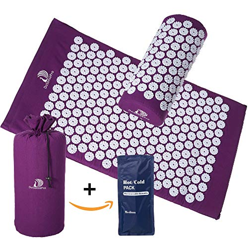 DoSensePro Long Acupressure Mat and Pillow Massage Set + Bonus Hot and Cold Gel Pack. Acupuncture Floor Pad with Travel Pouch Tote Bag. Relieve Sciatic, Back, Neck Aches and Pain at Pressure Points.