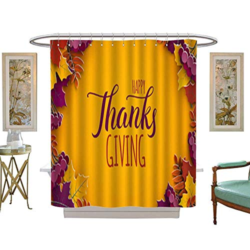 Decoration Shower CurtainThanksgiving holiday banner with congratulation text Autumn tree leaves on yellow background Autumnal design for fall season poster thanksgiving greeting card paper cut styl