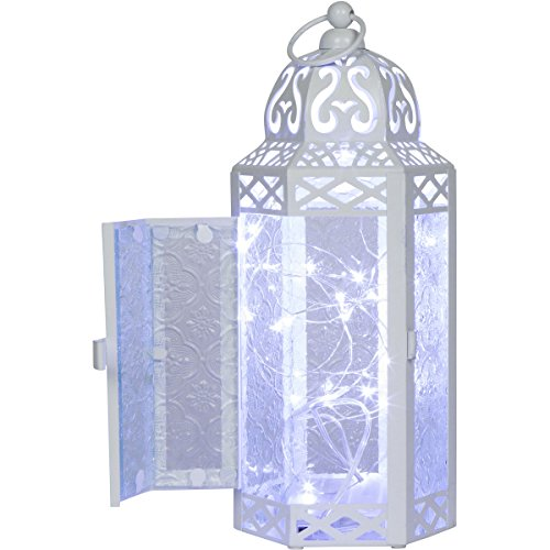 Cheap  White Moroccan Style Lantern with optional matching LED Fairy String Lights