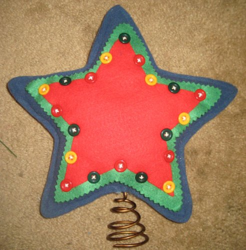 Red, Green, Blue Star Christmas Tree Topper Outlined with Buttons