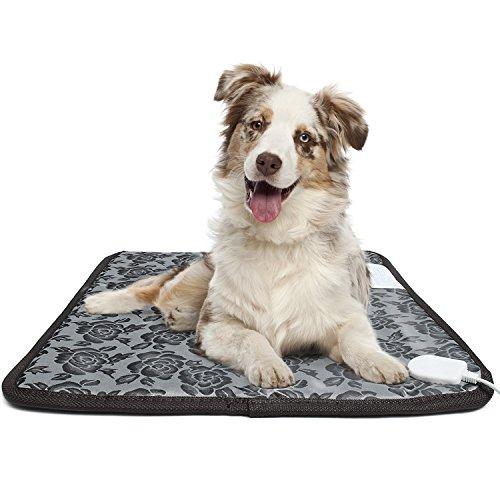 Pet Heating Pad, for Dog Cat Electric Heated Pad Indoor Waterproof Adjustable Warming Heat Mat with Chew Resistant Steel ()