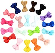 2 Inch Baby Girls Tiny Hair Bows Clips Fully Lined Snap Non-Slip Hair Pins Accessories (20PCS,Bownot)